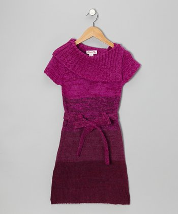 Pink Color Block Sweater Dress - Girls