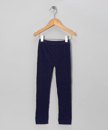 Navy Cable-Knit Leggings - Girls