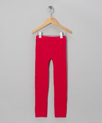 Fuchsia Cable-Knit Leggings - Girls