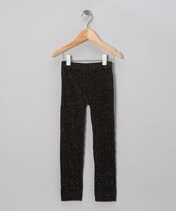 Black Cable-Knit Leggings - Girls