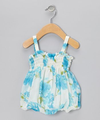 Blue Floral Bubble Dress - Infant