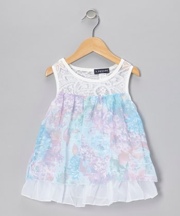 Blue Floral Lace Tier Dress - Infant