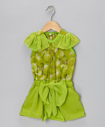 Green Ruffle Flutter-Sleeve Dress - Infant & Toddler