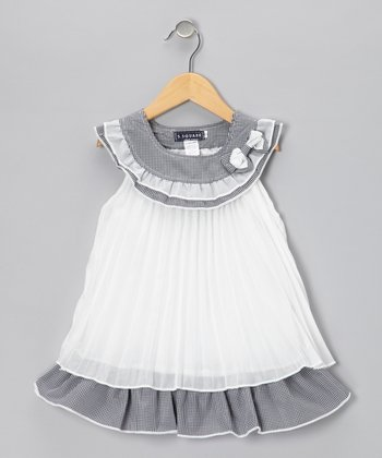 Gray & White Yoke Shift Dress - Girls