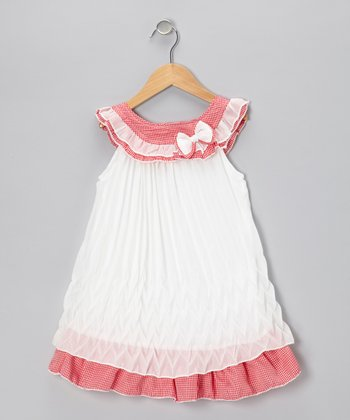 Red & White Bow Shift Dress - Girls