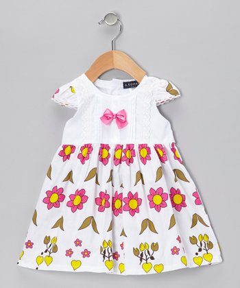 Pink Flower Cap-Sleeve Dress - Infant