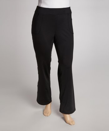 Jet Black Straight-Leg Yoga Pants - Plus