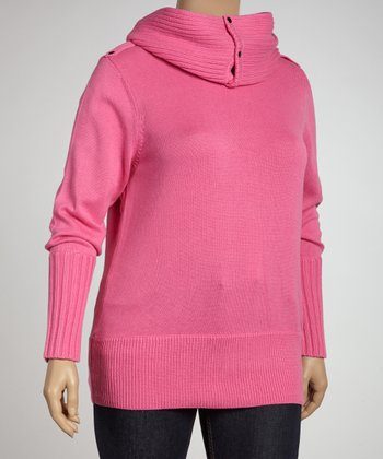 Fuchsia Epaulette Sweater & Scarf - Plus