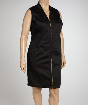 Black Zip-Up Sheath Dress - Plus