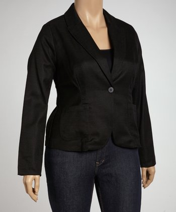 Black One-Button Blazer - Plus