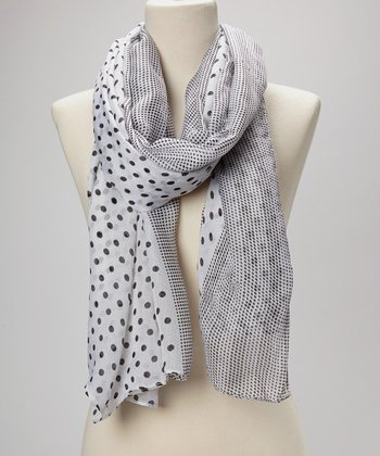 White & Black Polka Dot Silk-Blend Scarf
