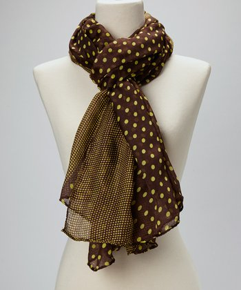 Brown & Yellow Polka Dot Silk-Blend Scarf
