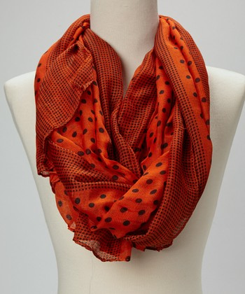 Orange & Black Polka Dot Silk-Blend Scarf