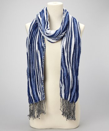 Royal Blue & White Crinkle Fringe Scarf