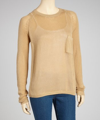 Mocha Sheer Knit Pocket Sweater