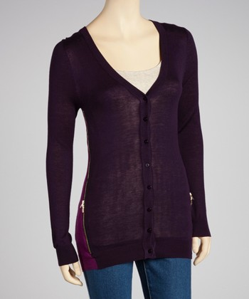 Purple & Plum Zipper Cardigan