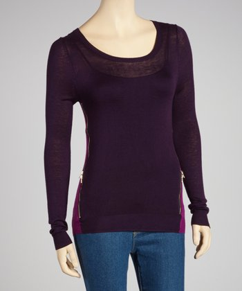 Purple & Plum Zipper Scoop Neck Sweater