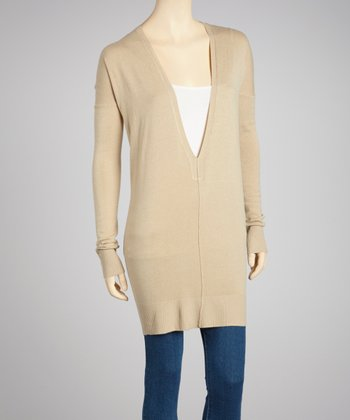 Beige Deep-V Sweater Tunic