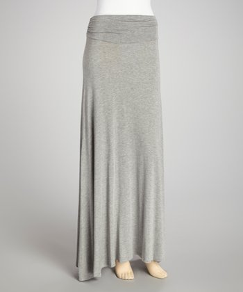 Heather Gray Ruched Waist Maxi Skirt