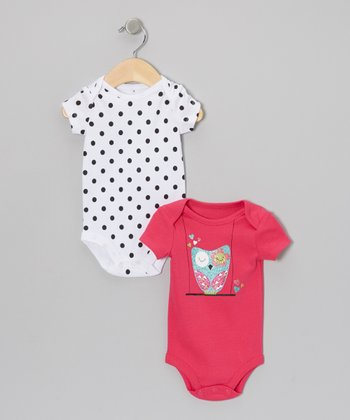 Pink Glitter Owl & Polka Dot Bodysuit Set - Infant