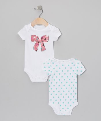 White & Pink Glitter Bow & Polka Dot Bodysuit Set