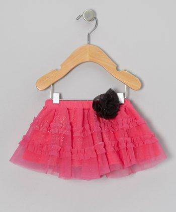 Hot Pink & Black Pouf Glitter Tutu - Infant