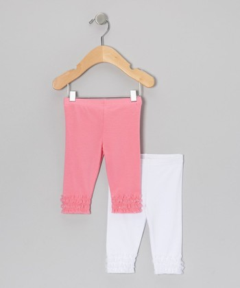 Pink & White Ruffle Leggings Set