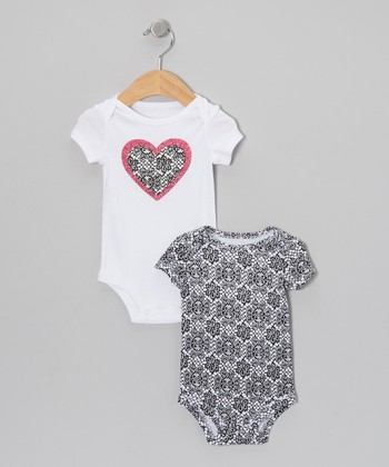 White & Black Damask Heart Bodysuit Set - Infant