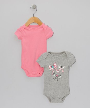 Gray & Pink Bow Bodysuit Set