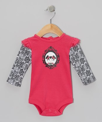 Pink & Black Damask Layered Bodysuit - Infant