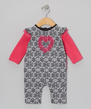 Pink & Black Damask Heart Playsuit - Infant