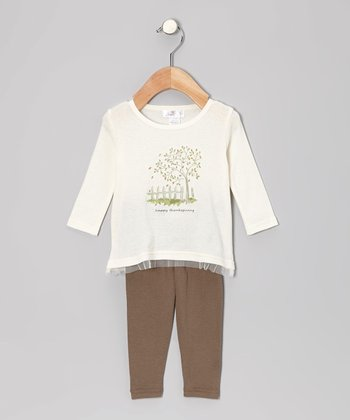 Ivory 'Happy Thanksgiving' Tunic & Sepia Leggings