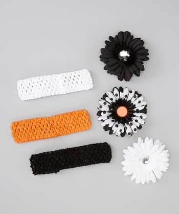 White & Black Polka Dot Flower Crocheted Headband Set