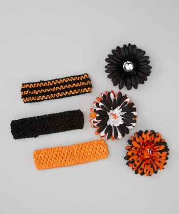 Orange Polka Dot Flower Crocheted Headband Set