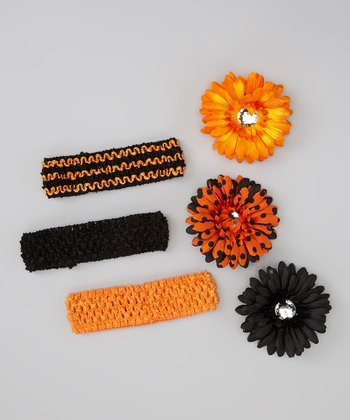 Orange Flower Crocheted Headband Set