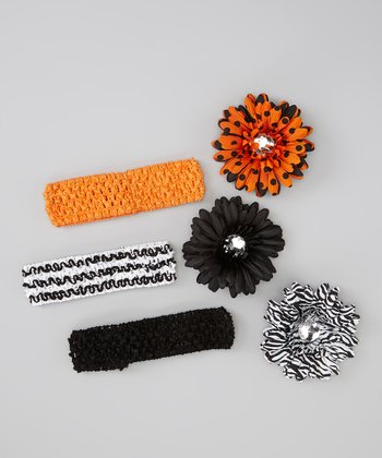 Black Zebra Flower Crocheted Headband Set