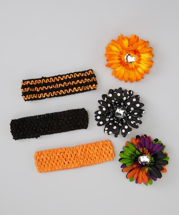 Black Polka Dot Flower Crocheted Headband Set