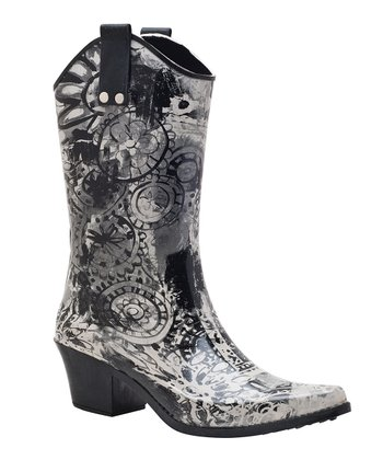 Black & White Midnight Cowboy Rain Boot