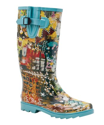 Teal & Yellow Blossom Rain Boot