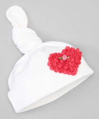 White & Dark Pink Ruffle Rose Heart Single-Knot Beanie