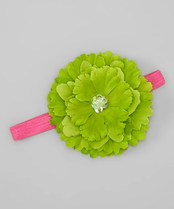 Dark Pink & Lime Sequin Flower Headband