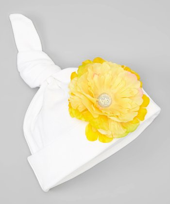 White & Yellow Flower Single-Knot Beanie