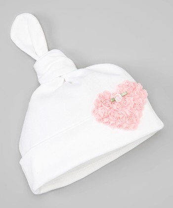 White & Pink Ruffle Rose Heart Single-Knot Beanie
