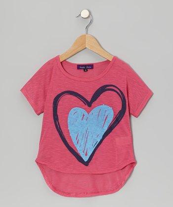 Purple Pixies Pink Heart Dolman Top