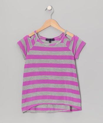 Purple Pixies Purple Stripe Cutout Top