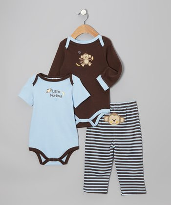 Light Blue & Brown 'Little Monkey' Bodysuit Set
