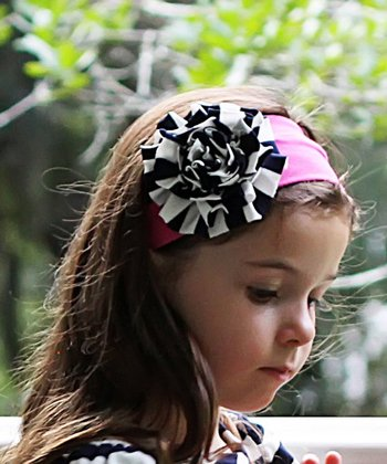 Pink & Navy Flower Headband