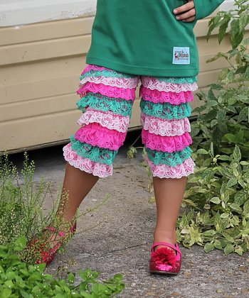 Hot Pink & Green Lace Ruffle Pants - Infant, Toddler & Girls