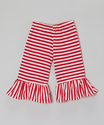 Red & White Stripe Ruffle Capri Pants - Infant, Toddler & Girls