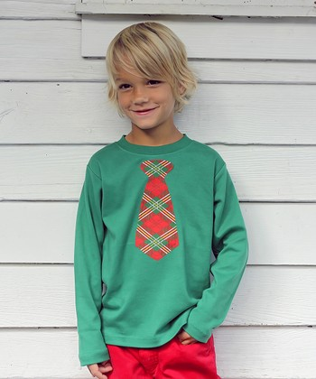 Green Plaid Tie Tee - Infant, Toddler & Boys